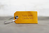 Personalized Leather Luggage Tag - Ox & Pine - Name and Phone Number - Saddle Tan