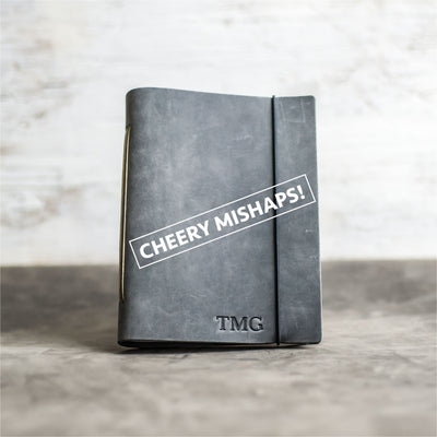 Cheery Mishaps - Classic Personalized Leather Journal with Professional Elastic Closure