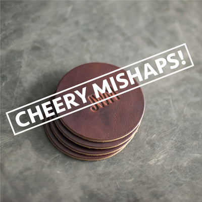 Cheery Mishaps - Personalized Leather Coasters (Set of 4)