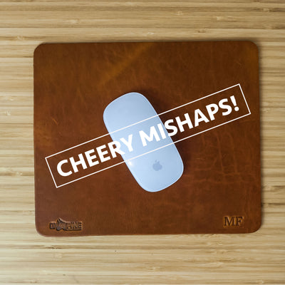 Cheery Mishaps - Leather Mouse Pad