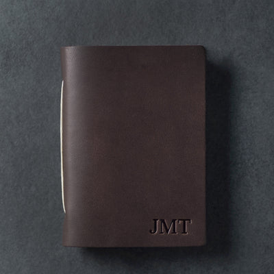 Personalized Leather Pocket Notebook Journal - Dark Brown - Ox & Pine