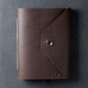 Personalized Leather Snap Journal - Dark Brown - Ox & Pine