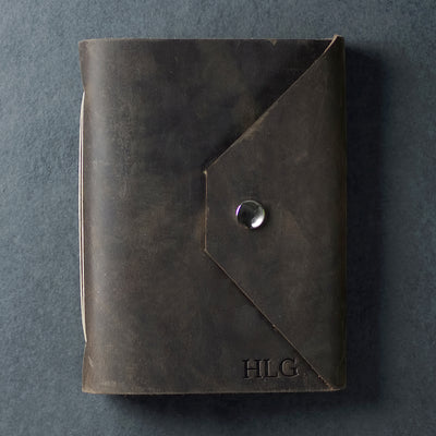 Personalized Leather Snap Journal - Rustic Brown - Ox & Pine