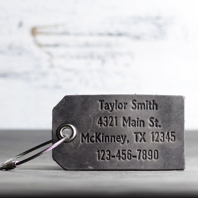 Personalized Leather Luggage Tag - Ox & Pine - Name, Address, Number - Rustic Gray