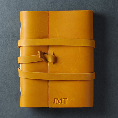 Personalized Leather Wrap Journal - Saddle Tan - Ox & Pine