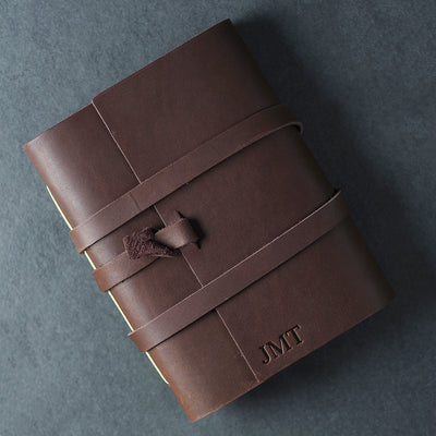 Personalized Leather Wrap Journal - Dark Brown - Ox & Pine