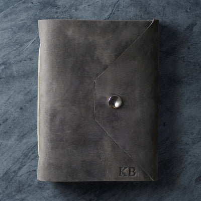 Personalized Leather Snap Journal - Rustic Gray - Ox & Pine