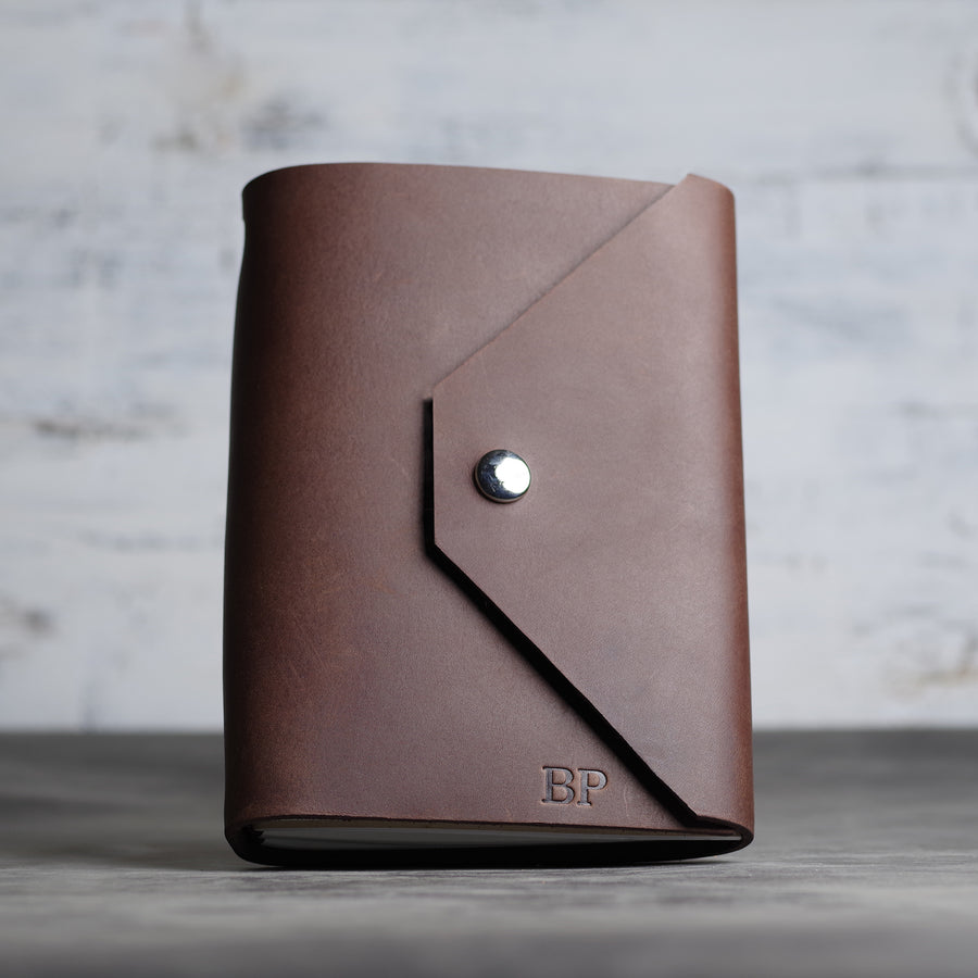 37391d317abf Personalized Refillable Snap Leather Journal - Dark Brown - Ox & Pine