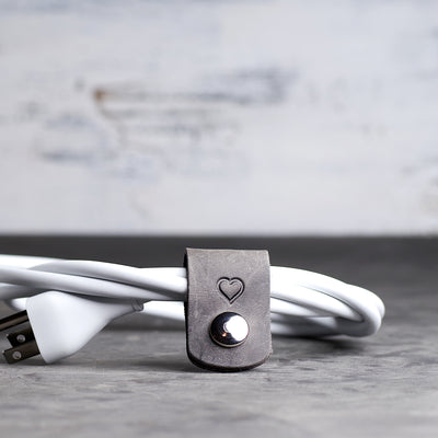 Personalized Leather Cord Wrap for Laptop Charger - Ox & Pine - Rustic Gray