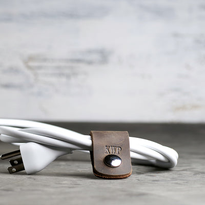 Personalized Leather Cord Wrap for Laptop Charger - Ox & Pine - Rustic Brown
