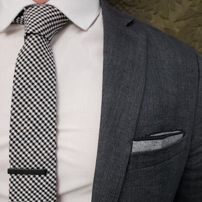 Tie Set - Checkered Black And White Tie Set