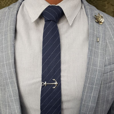 Tie Set - Striped Blue Steel Tie Set
