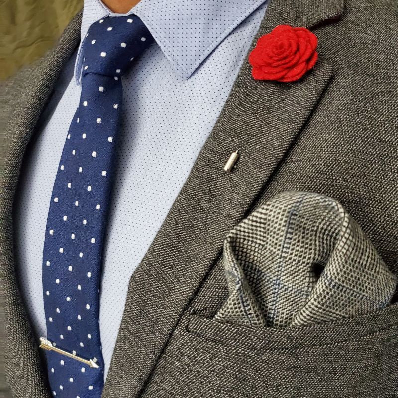 Pocket Square - Glen Check Grey Pocket Square