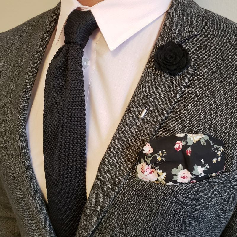 Pocket Square - Floral Obsidian Pocket Square