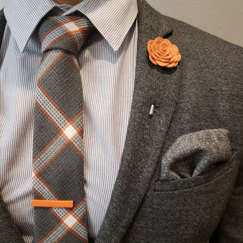 Tie Set - Plaid Textured Pebble Tie Set