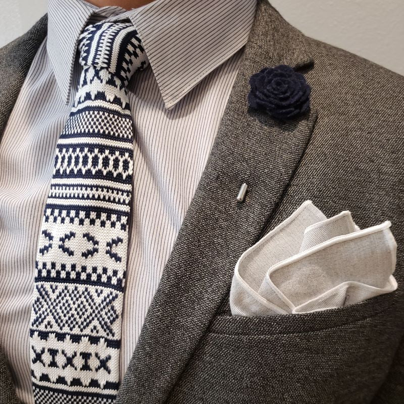 Tie Set - Knitted Navy Tundra Tie Set