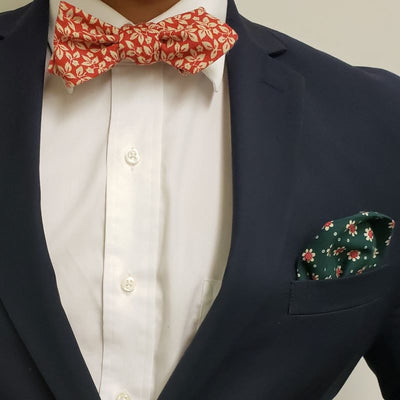 Bow Tie - Floral Ivy Ruby Bow Tie