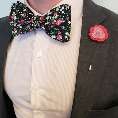 Bow Tie - Floral Black Orchid Bow Tie