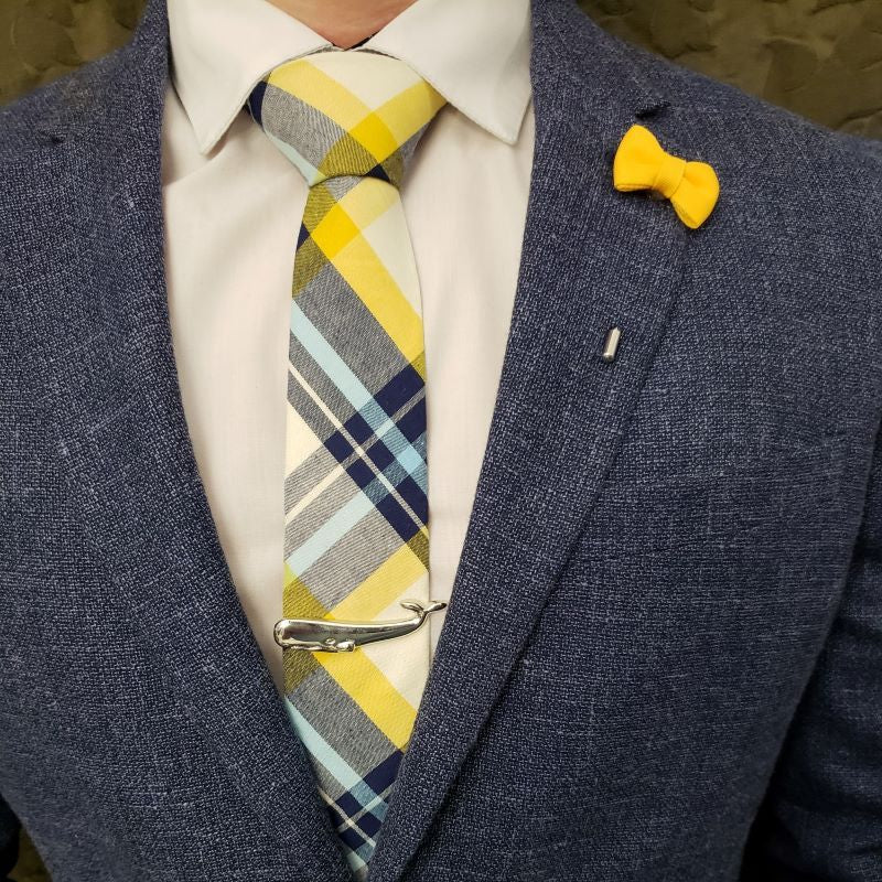 Tie Set - Plaid White Yellow Tie Set