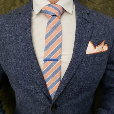 Tie Set - Striped Light Orange Denim Tie Set