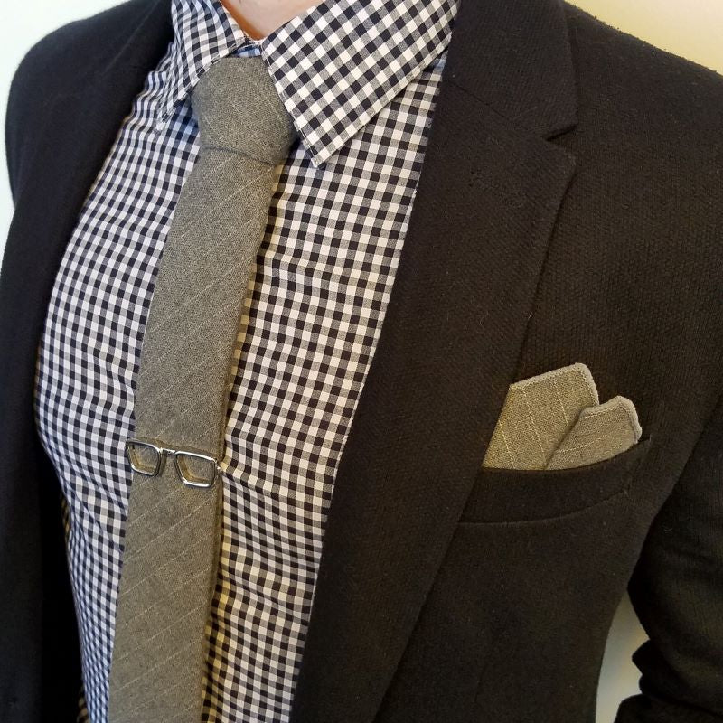 Pocket Square - Faded Striped Grey Pocket Square
