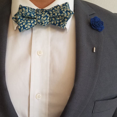 Bow Tie - Floral Ivy Sapphire Bow Tie