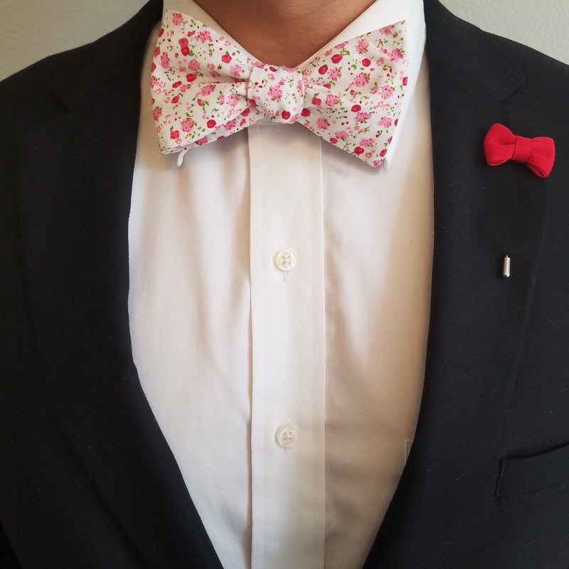 Floral White Raspberry Bow Tie