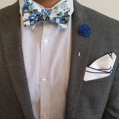 Bow Tie Set - Baby Blue Floral Bow Tie Set