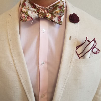 Bow Tie Set - Floral Moss Bow Tie Set