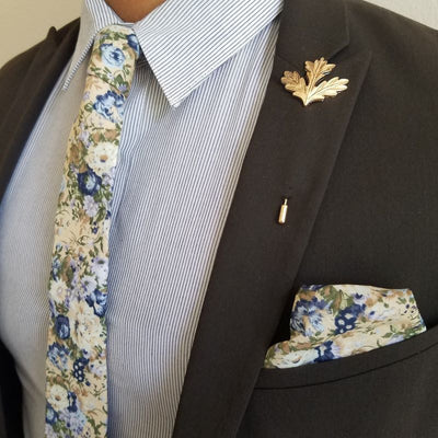 Pocket Square - Floral Blue Star Pocket Square