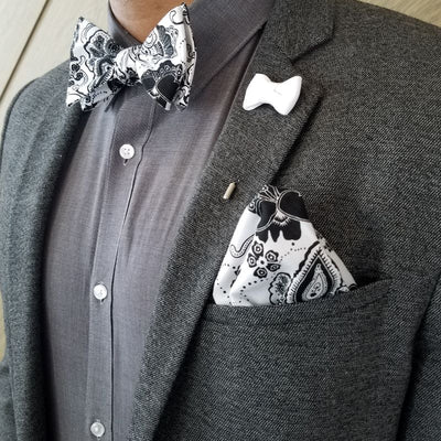 Bow Tie Set - Floral Ceramic Midnight Bow Tie Set