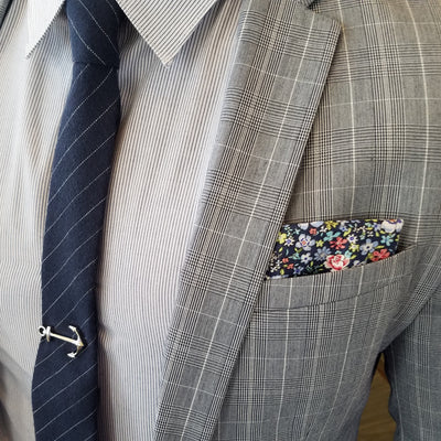 Pocket Square - Floral Navy Pocket Square