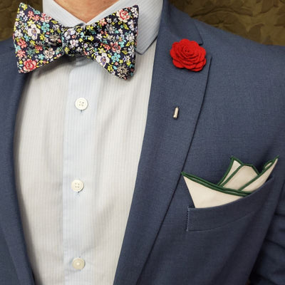 Bow Tie Set - Floral Navy Bow Tie Set
