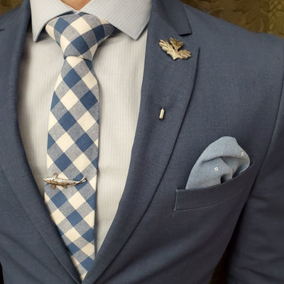 Tie Set - Checkered Slate Blue Tie Set