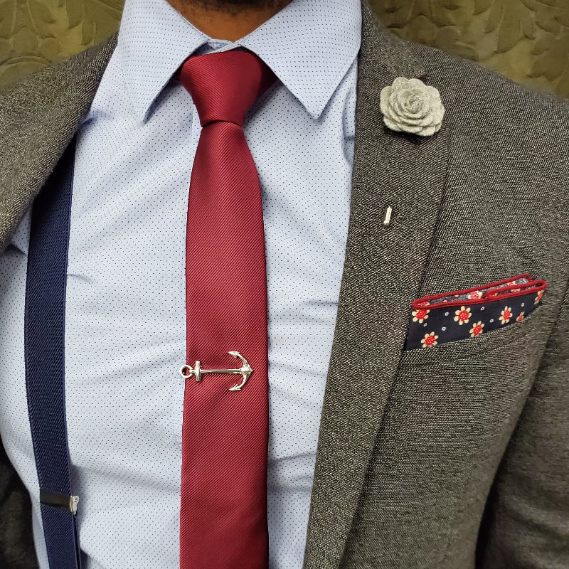 Solid Wine Tie Set