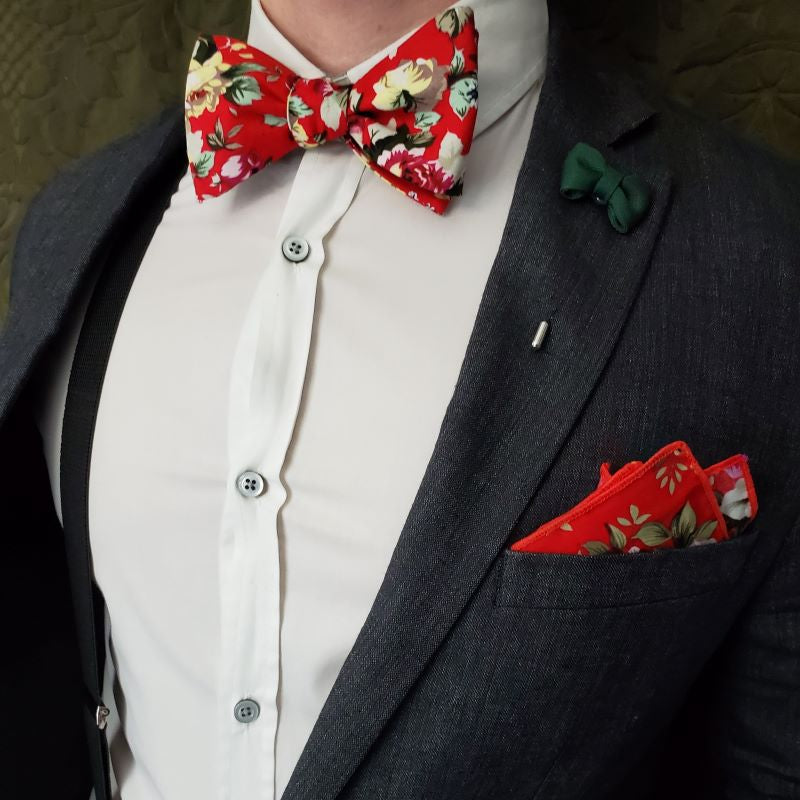 Floral Cherry Pocket Square
