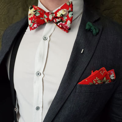 Floral Cherry Bow Tie
