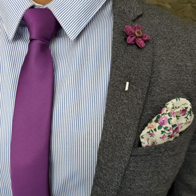 Floral Ivy Rose Pocket Square