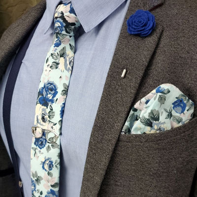 Floral Baby Blue Pocket Square