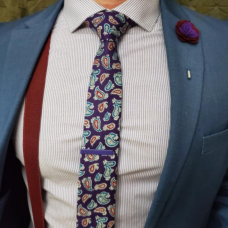 Paisley Bud Purple Tie Set