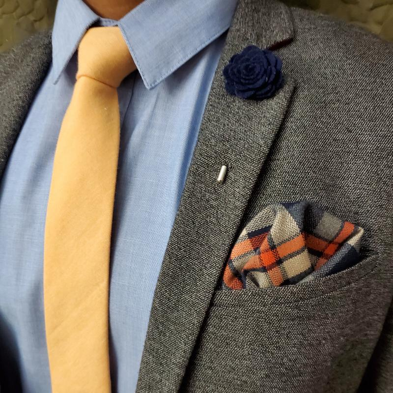 Solid Light Orange Tie Set