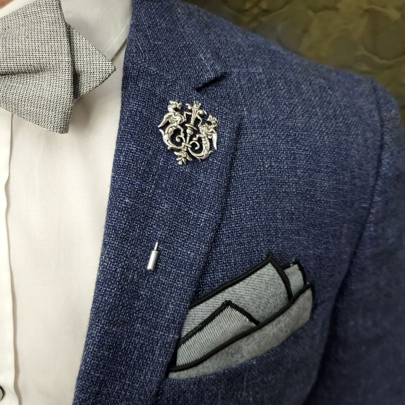 Lapel Pin - Silver Royal Crest