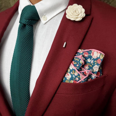 Floral green pocket square