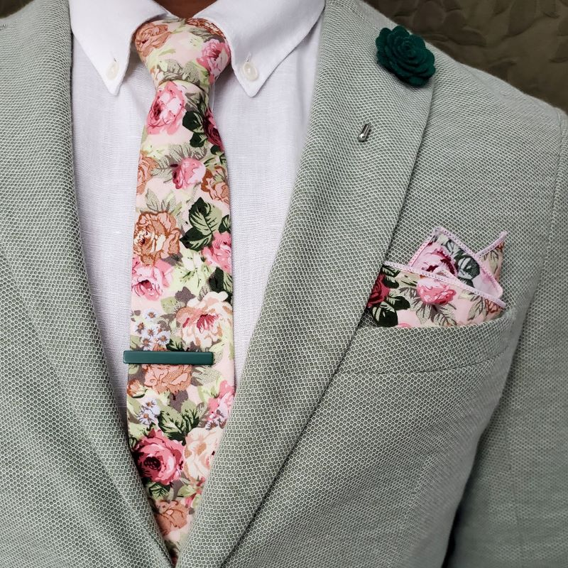 Floral Beige Carnation Pocket Square