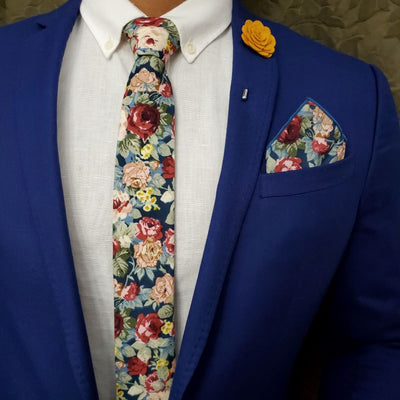 Floral Rose Meadow Tie Set