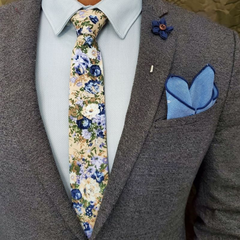 Floral Blue Star Tie Set