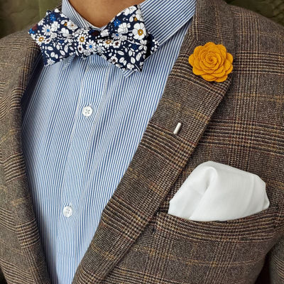flower blue bow tie set