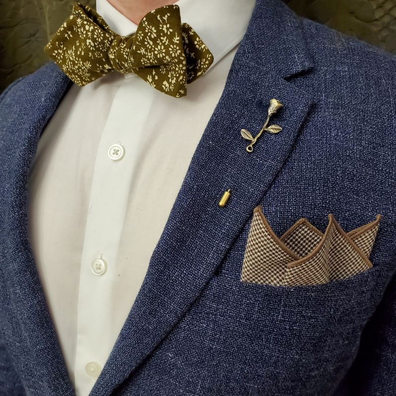 floral brown bow tie set