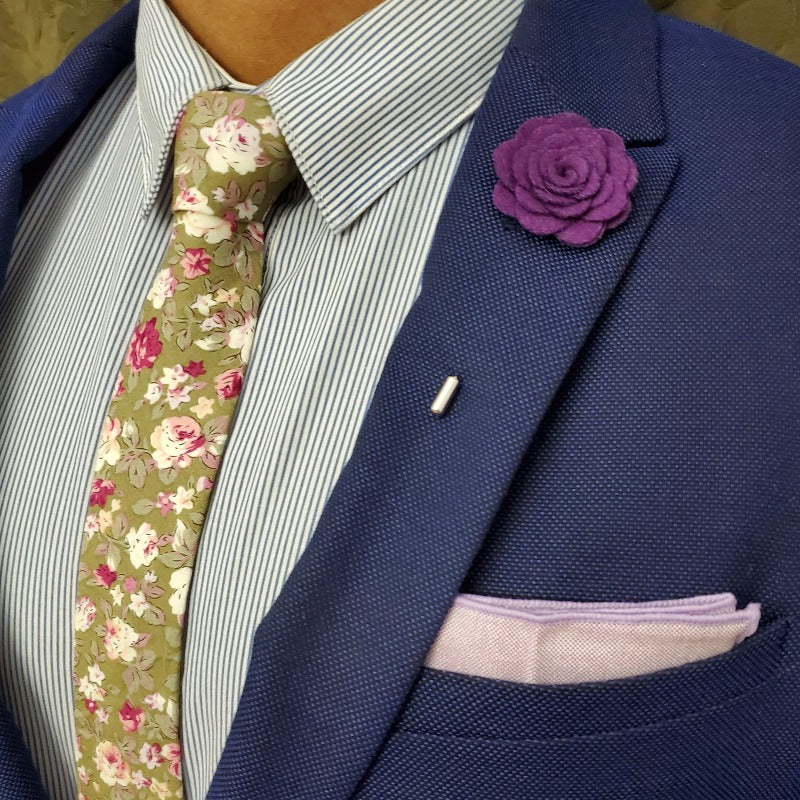 floral purple tie set
