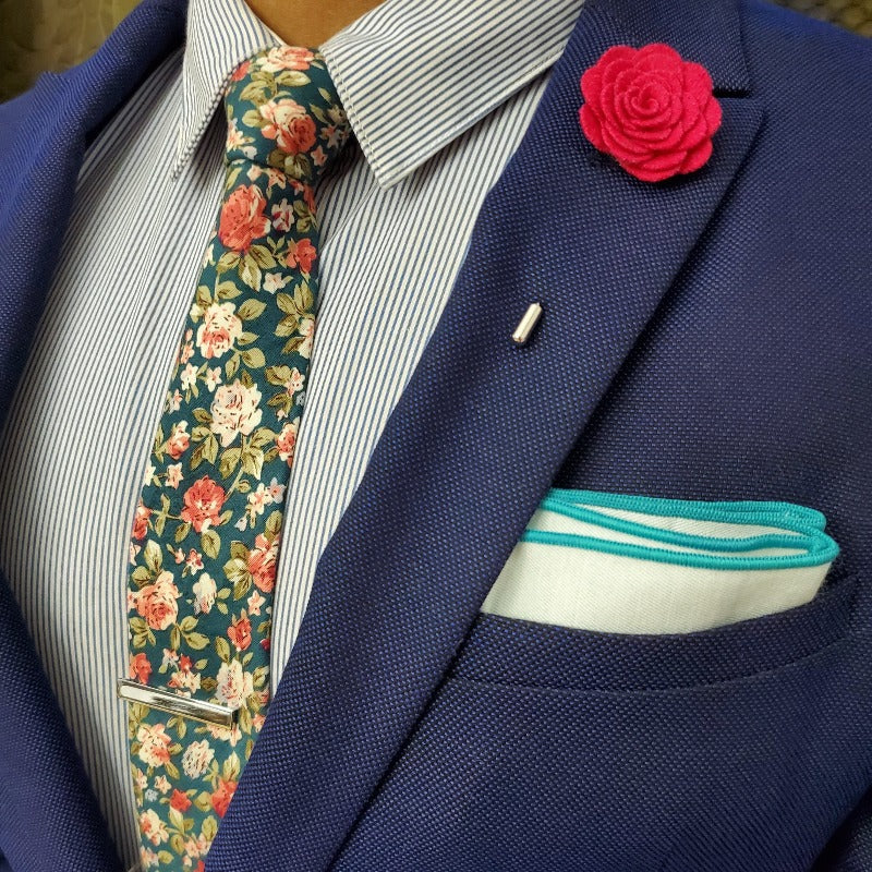 Floral Emerald Rose Tie Set